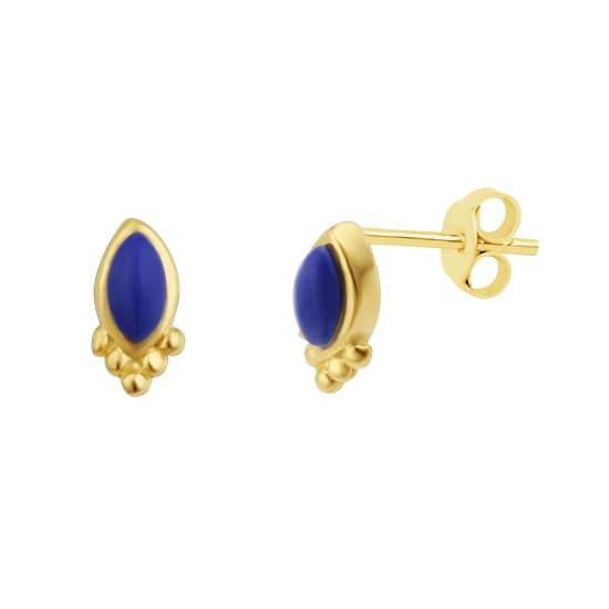 Gold Plated Sterling Silver Lapis Oval Stud Earrings