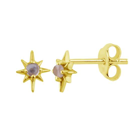 Gold Plated Sterling Silver Starburst Moonstone Stud Earrings