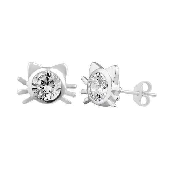 Sterling Silver Clear CZ Cat Head Stud Earrings