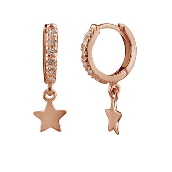 Rose Gold Plated Sterling Silver Star Charm 12mm Hoop Earrings