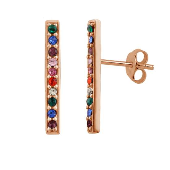 Rose Gold Plated Sterling Silver Rainbow CZ Bar Stud Earrings