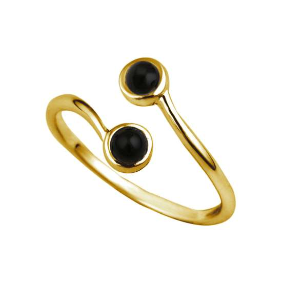 Gold Plated Sterling Silver & Faux Onyx Adjustable Ring