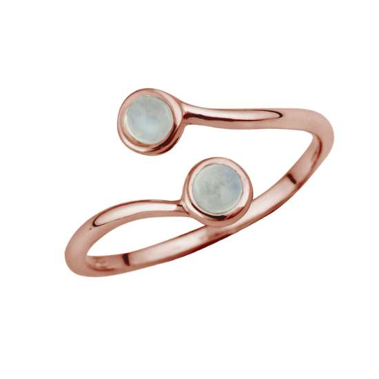 Rose Gold Plated Sterling Silver & Moonstone Adjustable Ring