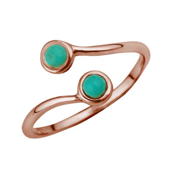 Rose Gold Plated Sterling Silver & Faux Turquoise Midi Ring