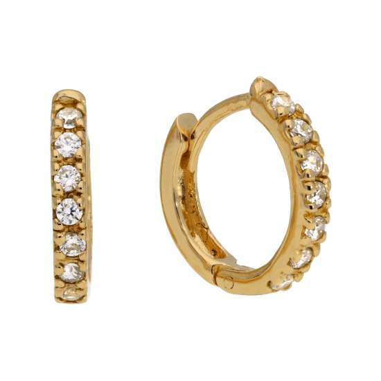 Gold Plated Sterling Silver CZ Hinged 12mm Hoop Earrings