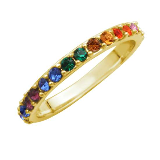 Gold Plated Sterling Silver Rainbow CZ Eternity Ring Size I-W