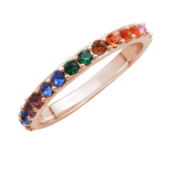 Rose Gold Plated Sterling Silver Rainbow CZ Eternity Ring Size I-W