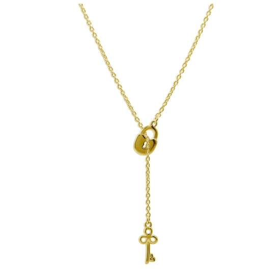Gold Plated Sterling Silver Key Padlock Drop Necklace