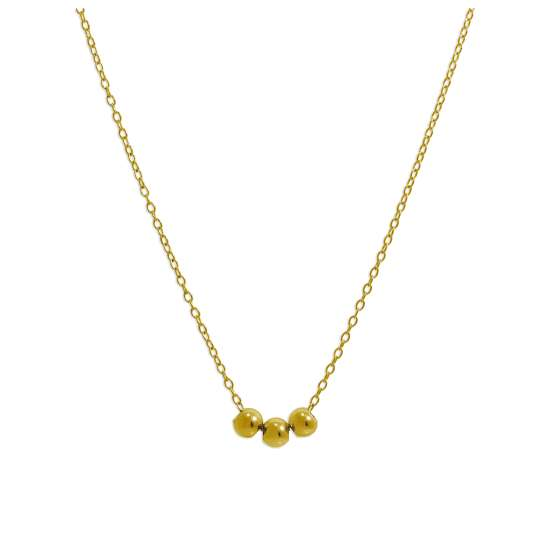 Gold Plated Sterling Silver Triple Ball Necklace 18 Inches