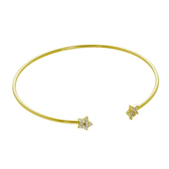 Gold Plated Sterling Silver Star CZ Pave Open Cuff Bangle