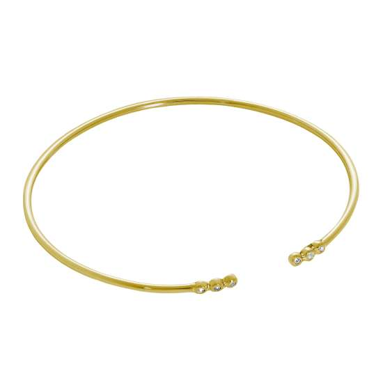 Gold Plated Sterling Silver 2mm CZ Open Cuff Bangle