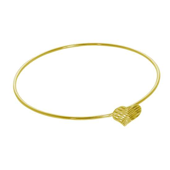 Gold Plated Sterling Silver Diamond Cut Heart Open Bangle