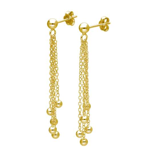 Gold Plated Sterling Silver Multi Ball Tassel Drop Stud Earrings