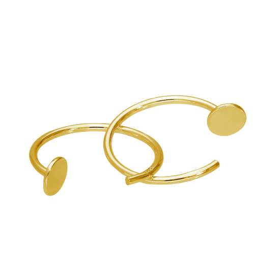 Gold Plated Sterling Silver Round Pull Through Hoop Earrings