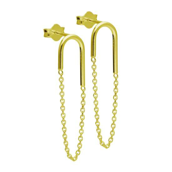 Gold Plated Sterling Silver Curve Bar Chain Stud Earrings
