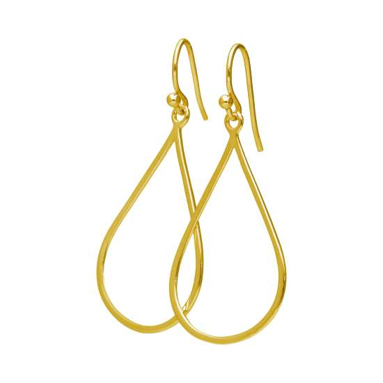 Gold Plated Sterling Silver Teardrop Outline Drop Earrings