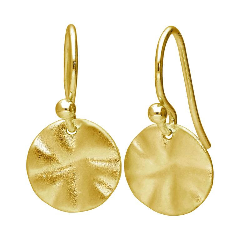 Gold Plated Sterling Silver Hammered Disc Drop Earrings