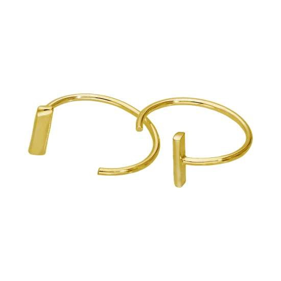 Gold Plated Sterling Silver Bar Pull Through Hoop Earrings