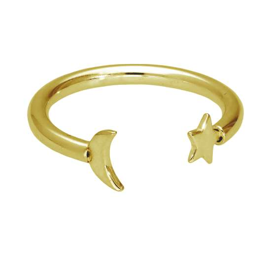 Gold Plated Sterling Silver Moon & Star Adjustable Ring