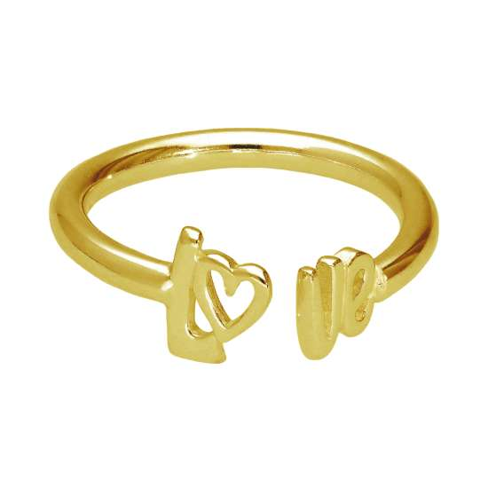 Gold Plated Sterling Silver LOVE Adjustable Ring