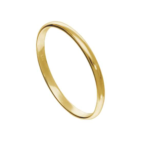 X Large Gold Plated Sterling Silver 2mm D Shaped Stacking Ring