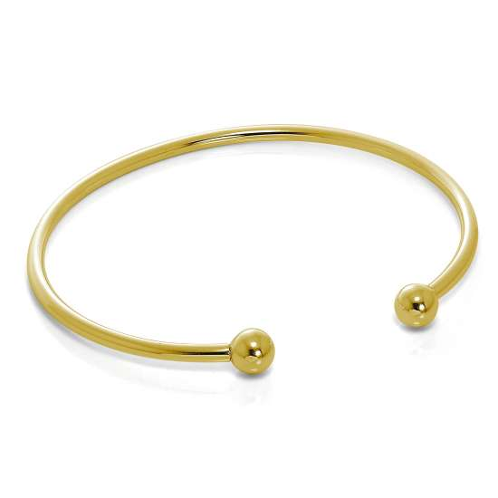 Gold Plated Sterling Silver Solid Opening Torque Mens Bangle