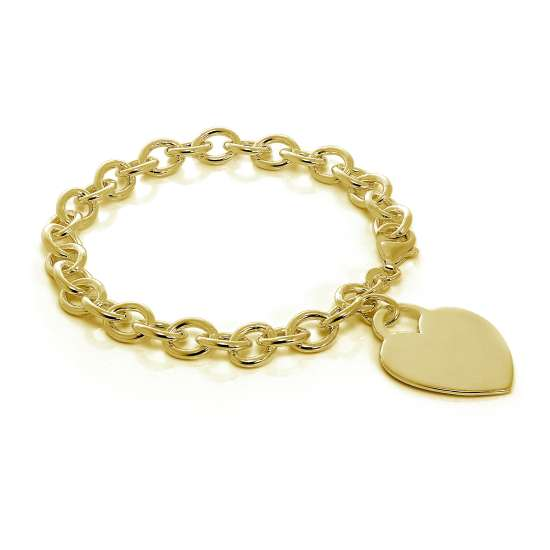 Gold Plated Sterling Silver 7 Inch Charm Bracelet & Large Heart