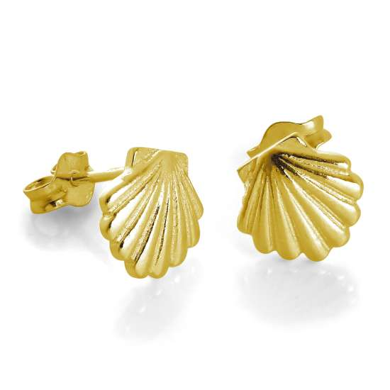 Gold Plated Sterling Silver Sea Shell Stud Earrings