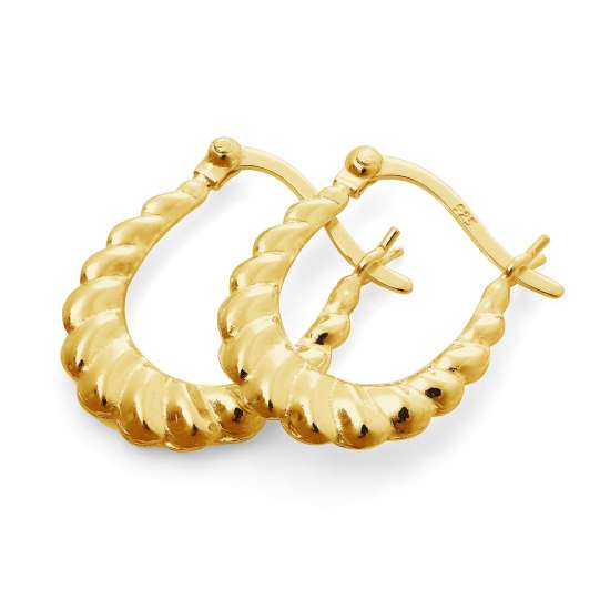 Gold Plated Thick Sterling Silver Twisted Creole Hoop Earrings