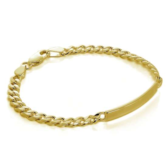 Gold Plated Sterling Silver Curb 7 Inch ID Bracelet