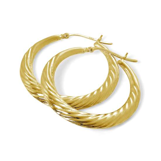 Gold Plated Sterling Silver Twist Creole 36mm Hoop Earrings