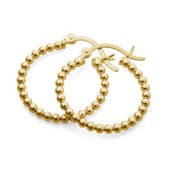 Gold Plated Sterling Silver 21mm Beaded Hoop Earrings