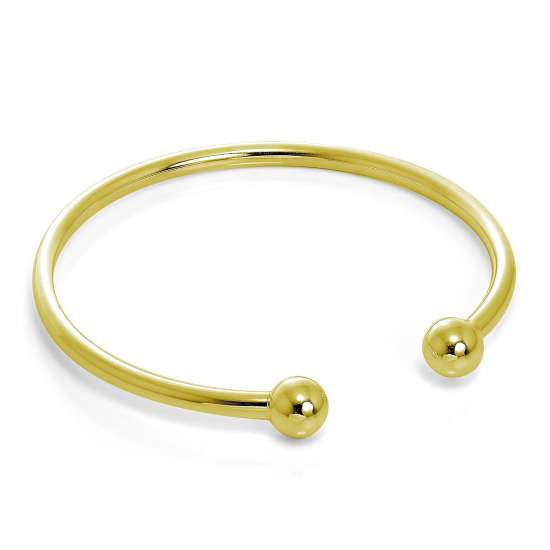 Gold Plated Hollow Sterling Silver Maiden Torque Bangle