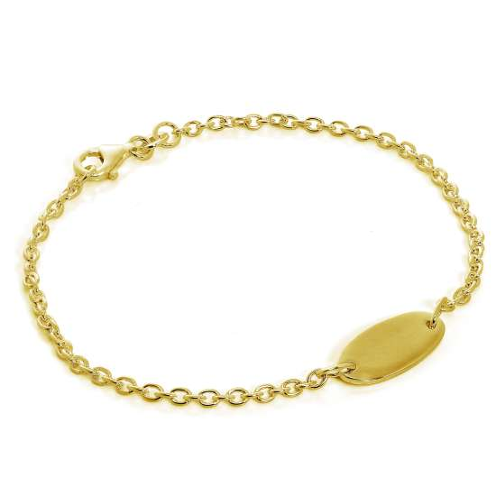 Gold Plated Sterling Silver Engravable ID Bracelet 7 Inches