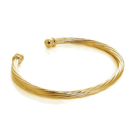 Gold Plated Sterling Silver Twisted Gents Torque Bangle