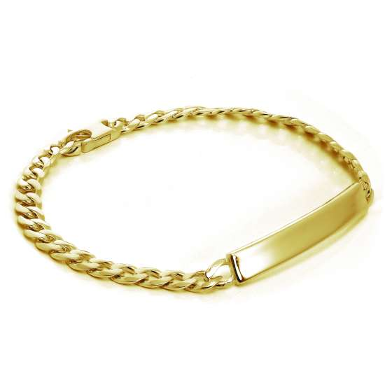 Gold Plated Sterling Silver 7mm Curb ID Bracelet 7 Inches
