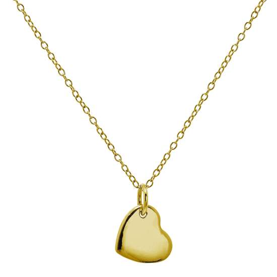 Gold Plated Sterling Silver Engravable Heart Necklace 18 Inches