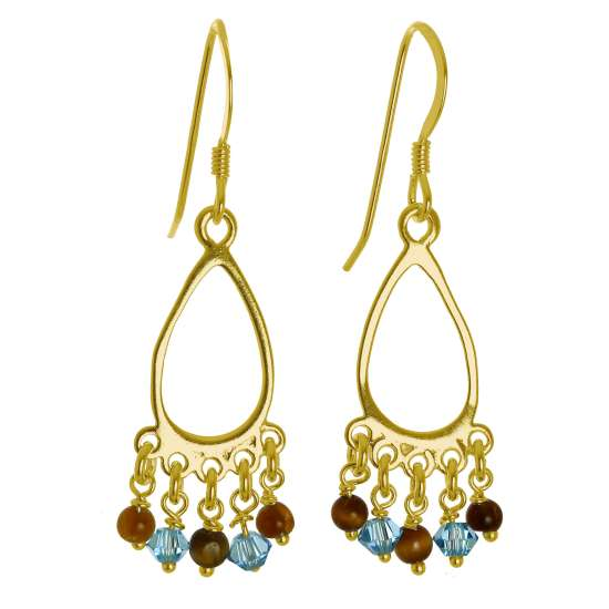 Gold Plated Sterling Silver & Tiger Eye Stones Chandelier Earrings