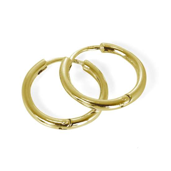 Gold Plated Sterling Silver Heavy Hinged 19mm Hoop Earrings