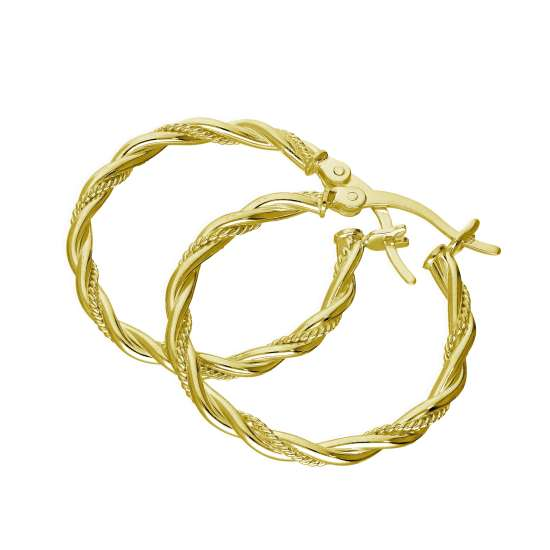 Gold Plated Sterling Silver Twisted Creole 25mm Hoop Earrings