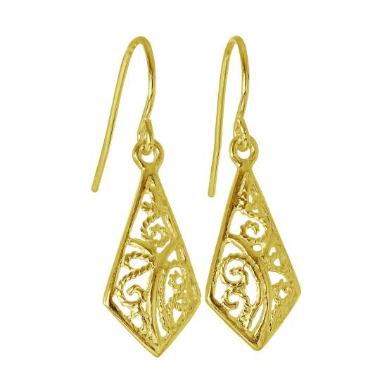 Gold Plated Sterling Silver Filigree Leaf Dangle Earrings
