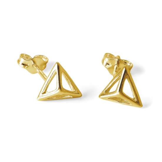 Gold Plated Sterling Silver Open Pyramid Stud Earrings