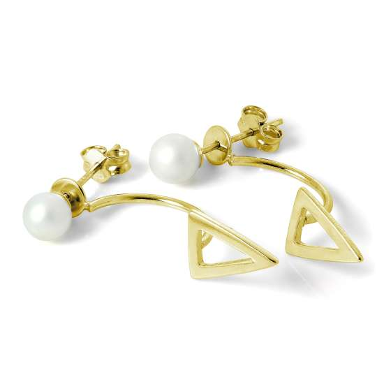 Gold Plated Sterling Silver Pearl Ear Jacket Stud Earrings