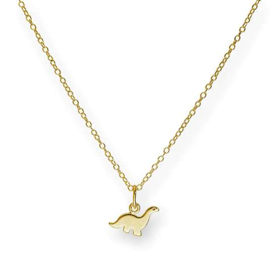 Small Gold Plated Sterling Silver 18 Inch Dinosaur Necklace