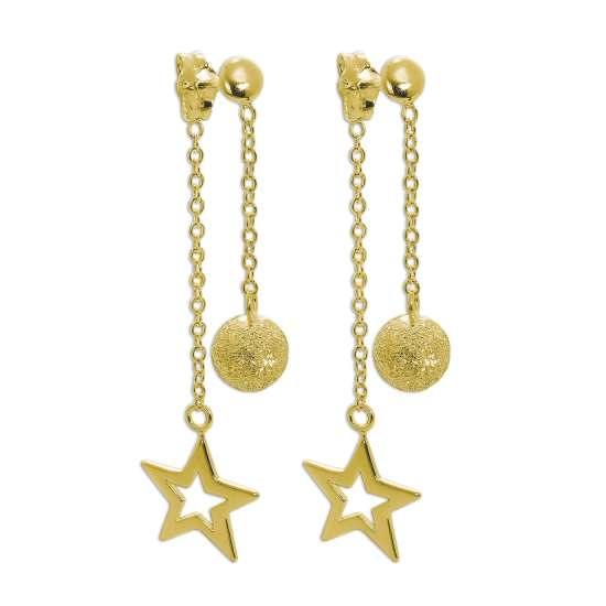 Gold Plated Sterling Silver Frosted Ball & Star Dangle Stud Earrings