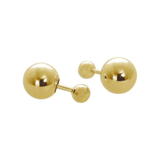 Gold Plated Sterling Silver Double Sided 8mm & 4mm Ball Stud Earrings