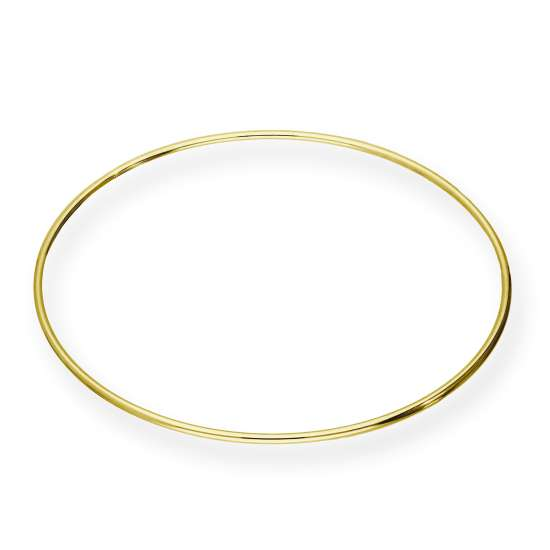 Gold Plated Sterling Silver Round Bangle 68mm