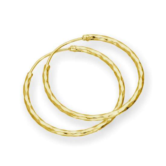 Gold Plated Sterling Silver Diamond Cut Hoop Earrings 24mm