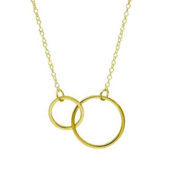 Gold Plated Sterling Silver Karma Circles 17 Inch Necklace