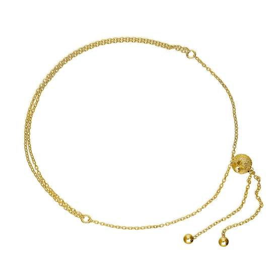 Gold Plated Sterling Silver Frosted Bead Adjustable Bracelet